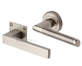 Satin Nickel Door Handles On Rose