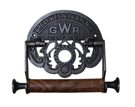 Cottingham 'GWR' Toilet Roll Holder (203mm x 152mm), Antique Cast Iron & Wood - 01.624G.AI.150