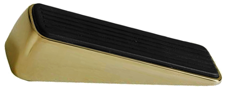Designer Door Wedge Polished Brass With Solid Rubber