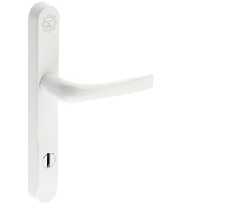 Mila ProSecure Lever/Lever Door Handles, 240mm Backplate - 92mm C/C Euro Lock, White Finish - 050208 (sold in pairs)