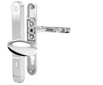 Mila ProSecure Lever/Pad Door Handles, 240mm Backplate - 92mm/62mm C/C Euro Lock, Polished Chrome Finish - 050231 (sold in pairs)
