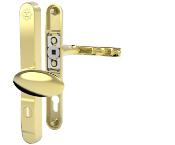 Mila ProSecure Lever/Pad Door Handles, 240mm Backplate - 92mm/62mm C/C Euro Lock, Polished Gold (PVD) - 050234 (sold in pairs)