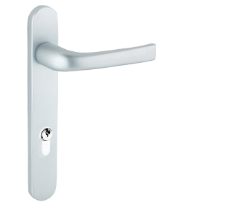 Mila ProLinea Lever/Lever Door Handles, 220mm Backplate - 92mm C/C Euro Lock, Anodised Silver (F1) Finish - 050300 (sold in pairs)