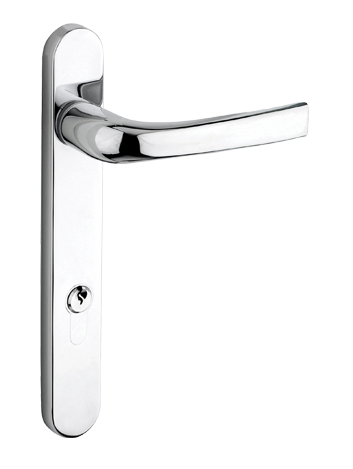 upvc door handle satin silver finish backplate length 220mm centres 122mm