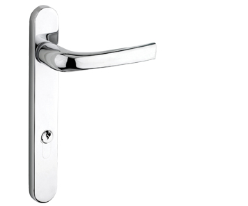 Mila ProLinea Lever/Lever Door Handles, 220mm Backplate - 92mm C/C Euro Lock, Polished Chrome Finish - 050309 (sold in pairs)