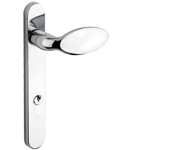 Mila ProLinea Lever/Pad Door Handles, 220mm Backplate - 92mm C/C Euro Lock, Polished Chrome Finish - 050319 (sold in pairs)
