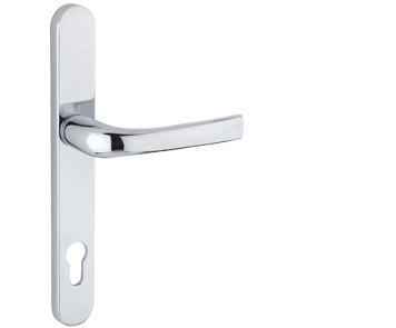 Mila ProLinea Lever/Lever Door Handles, 240mm Backplate - 92mm C/C Euro Lock, Polished Chrome Finish - 050409 (sold in pairs)