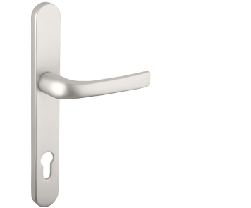 Mila ProLinea Lever/Lever Door Handles, 240mm Backplate - 92mm C/C Euro Lock, Satin Smooth Finish - 050412 (sold in pairs)