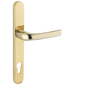 Mila ProLinea Lever/Lever Door Handles, 240mm Backplate - 92mm C/C Euro Lock, Polished Gold (PVD) Finish - 050424 (sold in pairs)