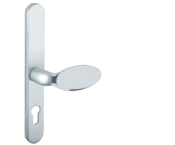 Mila ProLinea Lever/Pad Door Handles, 240mm Backplate - 92mm C/C Euro Lock, Anodised Silver (F1) Finish - 050430 (sold in pairs)