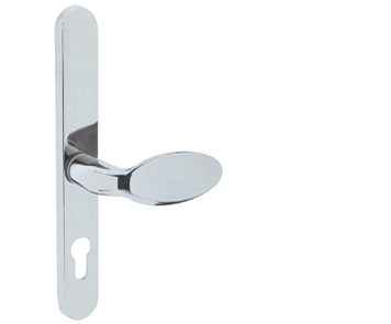 Mila ProLinea Lever/Pad Door Handles, 240mm Backplate - 92mm C/C Euro Lock, Polished Chrome Finish - 050439 (sold in pairs)