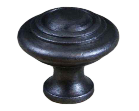 Cottingham 'Domed with Rings' Cupboard Knob (30mm), Antique Cast Iron - 05.086D.AI.30