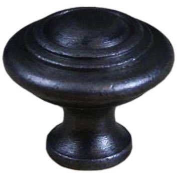 Cottingham 'Domed with Rings' Cupboard Knob (30mm), Antique Cast Iron - 05.086D.AI.30 None