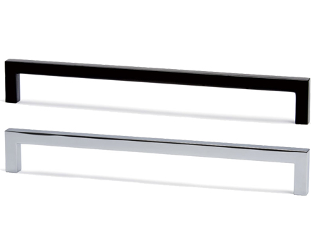 Hafele 'U' Pull Handle, 128mm, 320mm or 492mm, Matt Black or Polished Chrome - 108.66.UPU