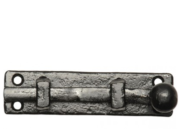 Kirkpatrick Black Antique Malleable Iron 'Straight Door Bolt' (101mm) - AB1131