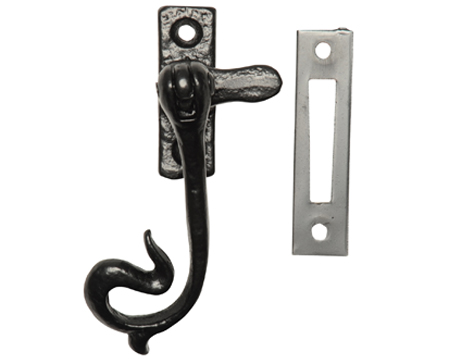 Kirkpatrick Black Antique Malleable Iron 'Curled' Casement Fastener - AB1182