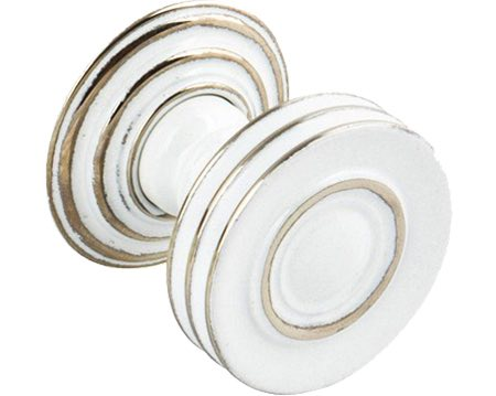 Hafele 'Bordeaux' Cupboard Knob, 32mm Or 38mm, Polished Nickel/White - 119.25.700