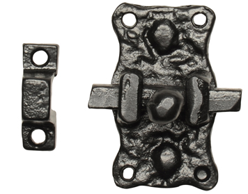 Kirkpatrick Black Antique Malleable Iron 'Small Door Bolt' (63mm) - AB1196