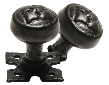 Kirkpatrick Un-Sprung Black Antique Malleable Iron Rounded Rim Door Knob - AB1207R (sold in pairs)