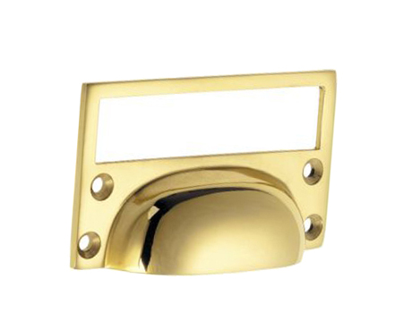 'Croft Architectural' Cast Drawer Pull With Card Frame, 76mm, *Various Finishes Available - 1822