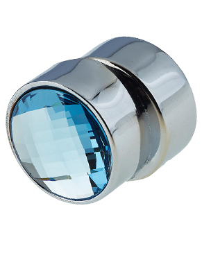 Jedo Collection Cabinet Knob, Polished Chrome With Blue Swarovski Crystal - 2022-23PC None