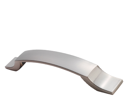 STEPPED BOW CABINET PULL HANDLE (128MM C/C), SATIN NICKEL - 210.128.40