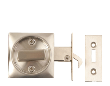 Excel Square Sliding Bathroom Door Lock, Satin Stainless Steel - 2130SSS