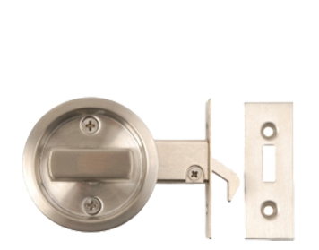 Excel Round Sliding Bathroom Door Lock, Satin Stainless Steel - 2131