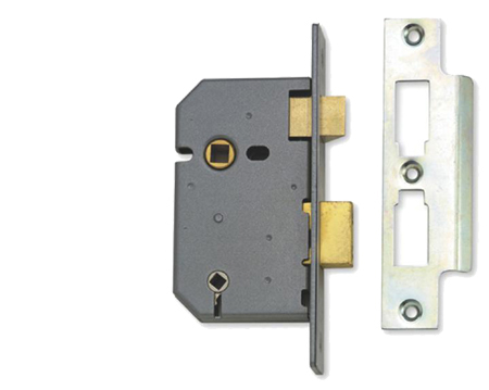 Union 3 Lever Bathroom Lock - Satin Chrome Or Brass Finish - UNION2226