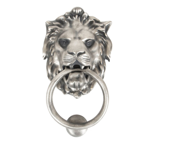 Lions Head Door Knocker, Antique Pewter - 33019