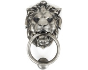 From The Anvil Lions Head Door Knocker, Antique Pewter - 33019