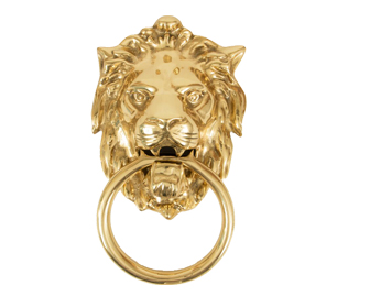 Lions Head Door Knocker, Polished Brass - 33020