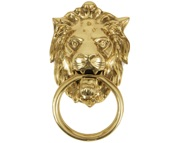 From The Anvil Lions Head Door Knocker, Polished Brass - 33020