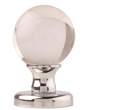 Clear Glass Ball Mortice Door Knobs Polished Chrome - 3850 (sold in pairs)