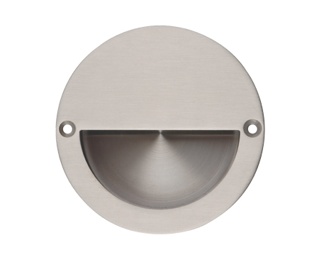 Excel Half Covered Circular Flush Pull (90mm), Satin Stainless Steel - 3800