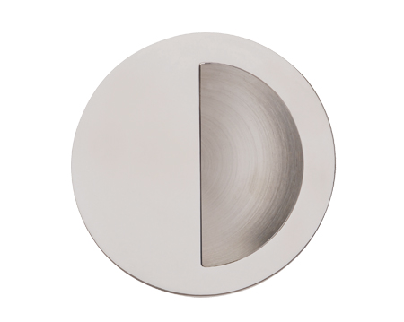 Excel Half Covered Circular Flush Pull (90mm), Polished Stainless Steel - 3801