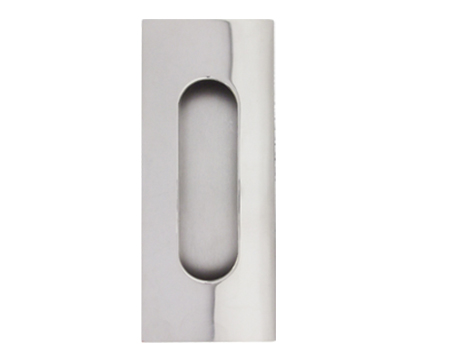 Excel Square Corner Oblong Flush Pull (Round Inner), Polished Stainless Steel - 3807