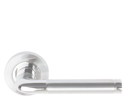 Excel 'Colima' Aluminium Door Handle On Round Rose, Satin Chrome & Polished Chrome Dual Finish - 3842 (sold in pairs)