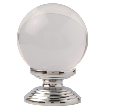 Excel Clear Round Glass Cupboard Knobs (30mm Or 40mm), Polished Chrome  - 3851