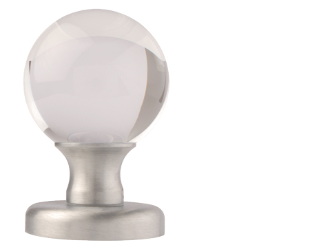 Clear Glass Ball Mortice Door Knobs Satin Chrome - 4850 (sold in pairs)
