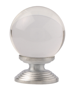 Excel Clear Round Glass Cupboard Knobs (30mm Or 40mm), Satin Chrome - 4851 None