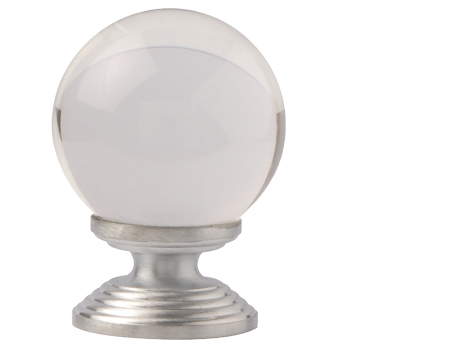 Excel Clear Round Glass Cupboard Knobs (30mm Or 40mm), Satin Chrome - 4851