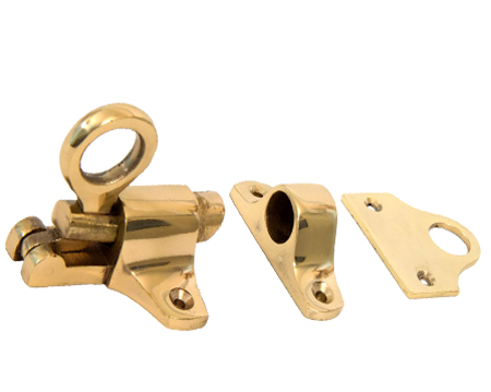 Fanlight Catch & Two Keeps, Polished Brass - 51563