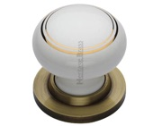 Heritage Brass Gold Line White Porcelain Mortice Door Knob, Antique Brass Rose - 6010-AT (sold in pairs)