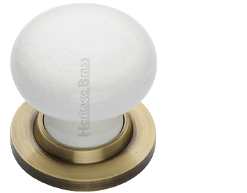 Heritage Brass 'White Crackle Porcelain' Mortice Door Knob, Antique Brass Rose - 7010-AT (sold in pairs)