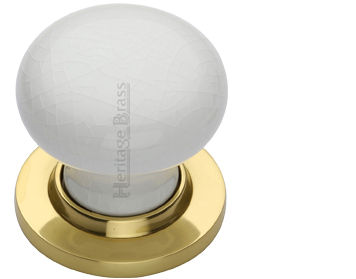 Heritage Brass 'White Crackle Porcelain' Mortice Door Knob, Polished Brass Rose - 7010-PB (sold in pairs)