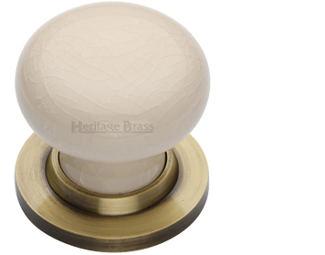 Heritage Brass 'Cream Crackle Porcelain' Mortice Door Knob, Antique Brass Rose - 8010-AT (sold in pairs)