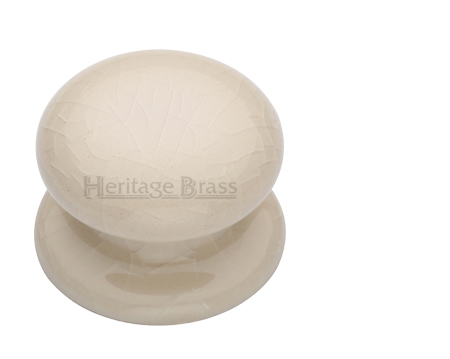 Heritage Brass Porcelain Cupboard Knobs (32mm Or 38mm), Cream Crackle   8032