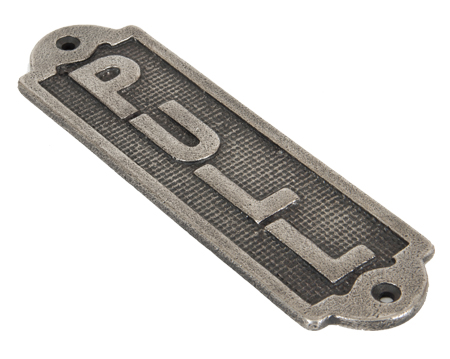 'Pull' Sign, (168mm X 48mm) Antique Pewter - 83684