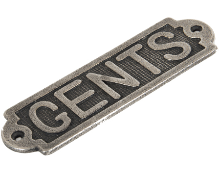 'Gents' Sign, (159mm X 48mm) Antique Pewter - 83686
